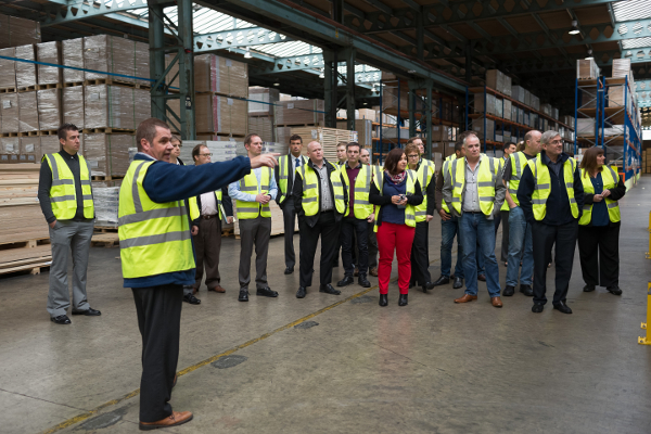Balloon One Accellos Users' Conference 2015: tour of the Premium Timber Products warehouse in Dewsbury