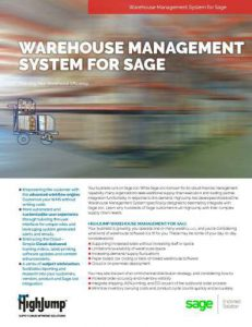 WMS Warehouse Management System for Sage