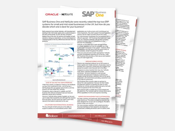 Blog Image - NetSuite vs SAP | Balloon One
