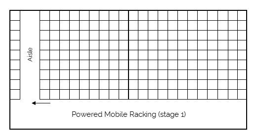 Powered mobile racking stage 1