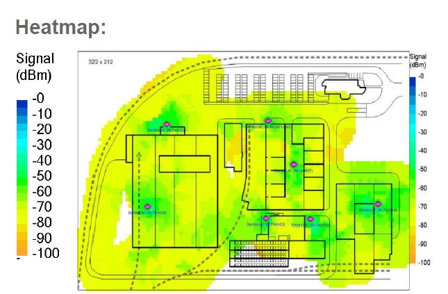 Warehouse wireless networking heatmap